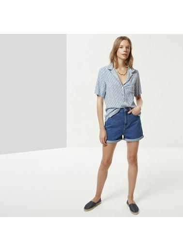 Yargıcı Kadın Ceket Yakalı Gömlek 0YKGM6177A Mavi